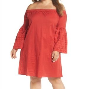 Glamorous red off-the-shoulder dress